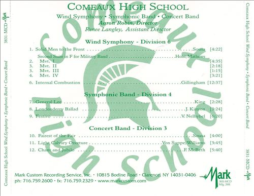 Comeaux High School Wind Symphony, Symphonic Band and Concert Band