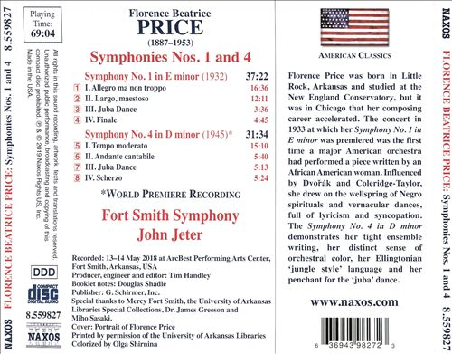 Florence Beatrice Price: Symphonies No. 1 in E minor, No. 4 in D minor