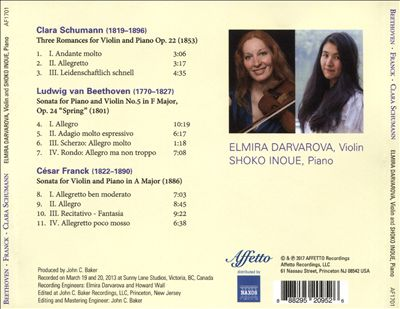 Masterpieces by Beethoven, Franck, Clara Schumann