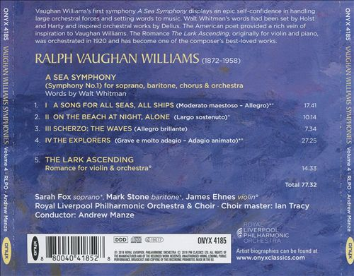 Vaughan Williams: A Sea Symphony; The Lark Ascending