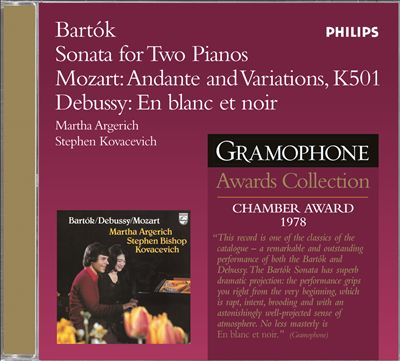 Bartok: Sonata for 2 Pianos and Percussion; Mozart: Andante; Debussy: En Blanc et Noir