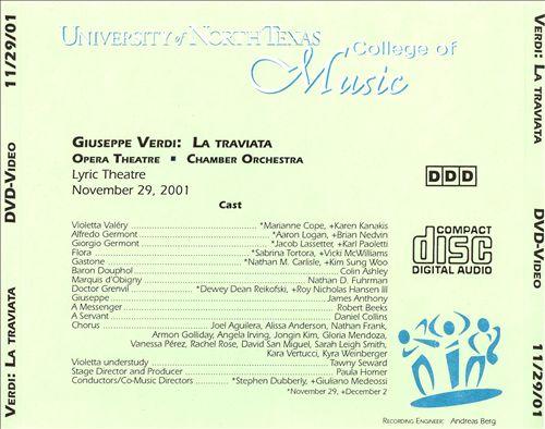 Verdi: La Traviata [University of North Texas, November 29, 2001] [DVD Video]