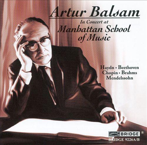 Artur Balsam in Concert at Manhattan School of Music