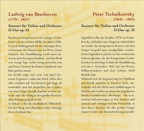 Beethoven: Konzert für Violine und Orchester; Tschaikowsky: Konzert für Violine und Orchester