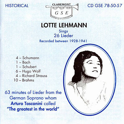 Lotte Lehmann Sings 26 Lieder (Recorded between 1928-1941)