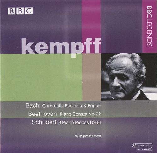 Bach: Chromatic Fantasia & Fugue; Beethoven: Piano Sonata No. 22; Schubert: 3 Piano Pieces