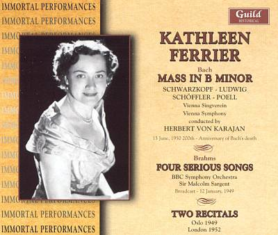 Bach: Mass in B minor; Brahms: Four Serious Songs; Two Recitals
