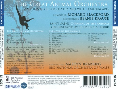 Richard Blackford: The Great Animal Orchestra; Saint-Saëns: Carnival of the Animals