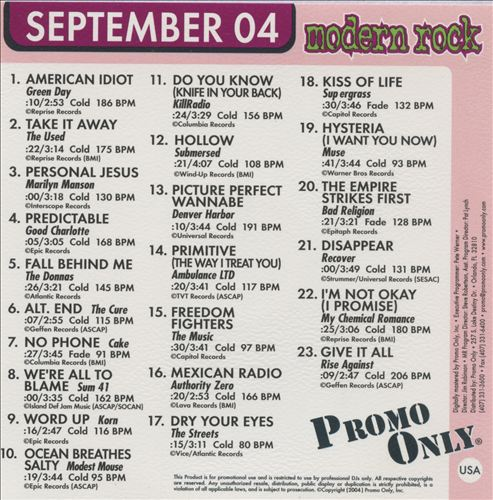 Promo Only: Modern Rock Radio (September 2004)