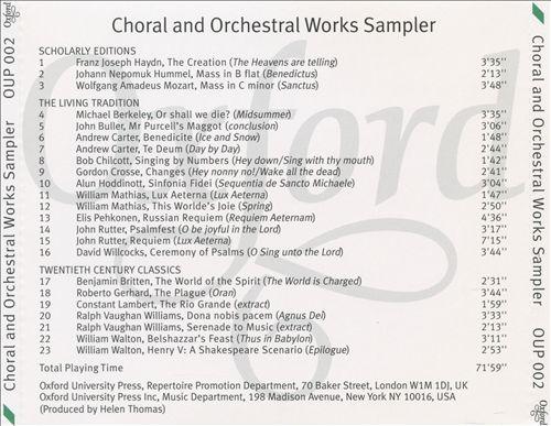 Choral and Orchestral Works Sampler