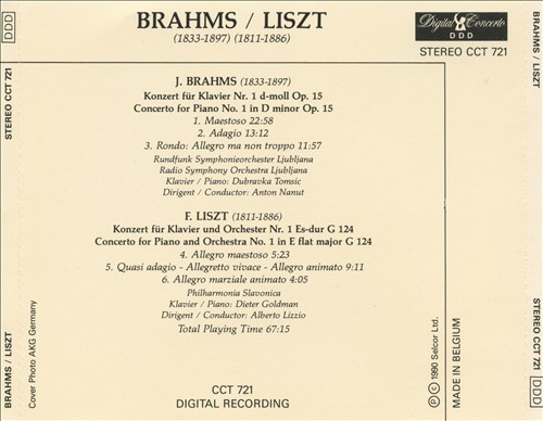 Brahms: Piano Concerto No. 1; Liszt: Piano Concerto No. 1