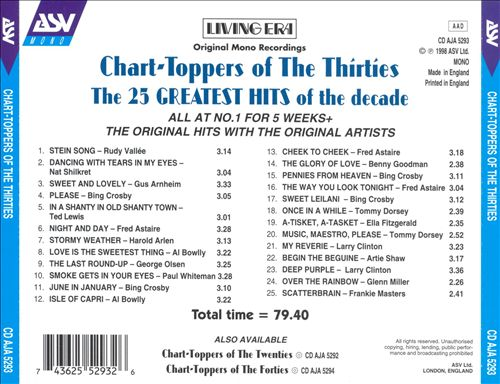 Chart-Toppers of the Thirties