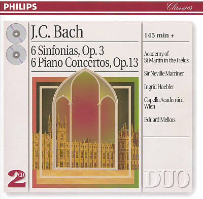 J. C. Bach: 6 Sinfonias, Op. 3; 6 Piano Concertos, Op. 13