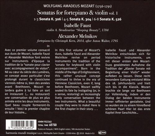 Wolfgang Amadeus Mozart: Sonatas for fortepiano & violin, Vol. 1 - K.304, 306 & 525