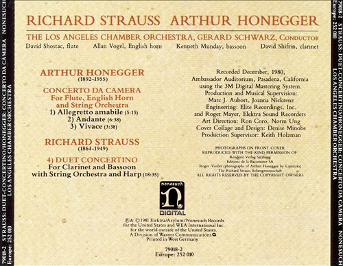 Richard Strauss: Duet-Concertino; Arthur Honeggar: Concerto da Camera