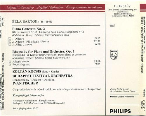 Bartók: Piano Concerto No. 2; Rhapsody