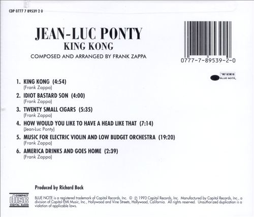 King Kong: Jean-Luc Ponty Plays the Music of Frank Zappa